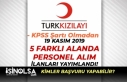 Kızılay 19 Kasım Yeni 5 İlan Yayımlandı! KPSS'siz...