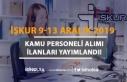 İŞKUR 9-13 Aralık Kamu Personeli Alım İlanları...