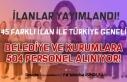 İŞKUR'da 45 İlan ile Belediyelere ve Birimlerine...