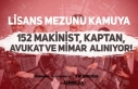 Kamuya Lisans Mezunu 152 Makinist, Kaptan, Avukat,...