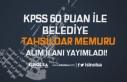60 KPSS Puanu İle Tahsildar Memuru Alımı İlanı...