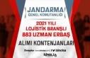 Jandarma Lojistik Branşlı 2021 Yılı 883 Uzman...