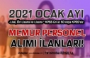Ocak Ayı 2021 Memur Alımı ve Personel Alımı İlanları...