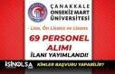 Onsekiz Mart Üniversitesi 69 Sağlık Personeli Alımı...