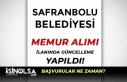 Safranbolu Belediyesi Memur Alımı İlanında Güncelleme...