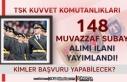 TSK Kuvvet Komutanlıkları 148 Muvazzaf Subay Alım...