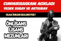 Cumhurbaşkanı Açıkladı: Yeni Askerlik Sisteminde Yedek Astsubay ve Subay Olma İmkanı Geliyor!