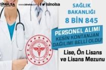 Sağlık Bakanlığı 8845 Personel Alımı Kesin Kontenjan Dağılımı Belli Oldu!