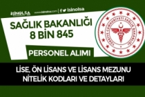 Sağlık Bakanlığı Lise, Ön Lisans ve Lisans Mezunu Nitelik Kodları