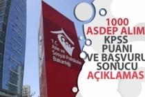 AÇSHB, 1000 Asdep Alımı Başvuru Sonucu, En Düşük KPSS Puanı!