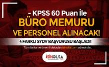 Aile Bakanlığı 4 SYDV KPSS 60 Puan İle Büro Memuru ve Personel Alıyor