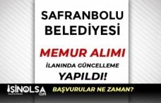 Safranbolu Belediyesi Memur Alımı İlanında Güncelleme Yapıldı
