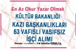 Kültür Bakanlığı Kazı Başkanlıkları 63 Vasıflı Vasıfsız İşçi Alınıyor!