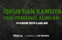 İŞKUR 14 kasım Kamu Personeli Alım İlanları...