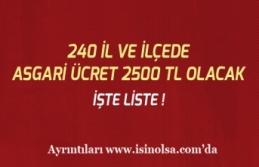 Asgari Ücret Hangi İl ve İlçelerde 2500 Tl İşte Liste