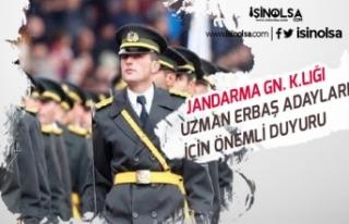 Jandarma Genel Komutanlığından Uzman Erbaş Adayları...