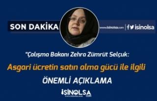Çalışma Bakanı Selçuk'tan Asgari Ücretin...