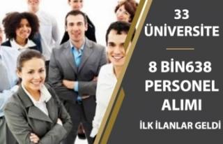 33 Üniversiteye 8 Bin 638 Memur Personel Alımı!...