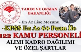 Tarım Bakanlığı 122 Kamu Personeli Alımı Şehre...