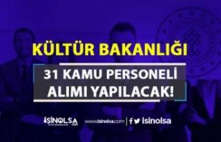 Kültür Bakanlığı KPSS Siz 31 Kamu Personeli Alımı...