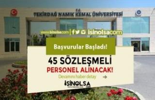 Tekirdağ Namık Kemal Üniversitesi 45 Sözleşmeli...