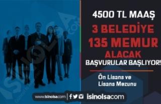 3 Belediye 4500 TL Maaş İle 135 Düz Memur ve Zabıta...