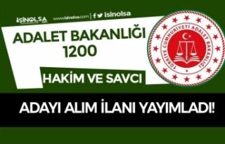 Adalet Bakanlığı 2020 Yılı 1200 Hakim ve Savcı...