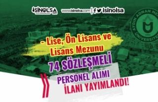 Adnan Menderes Üniversitesi 74 Sözleşmeli Personel...