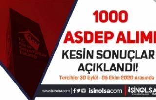 Aile Bakanlığı 1000 ASDEP Alımı Kesin Sonuçları...
