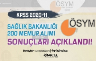 Sağlık Bakanlığı KPSS 2020/11 200 Memur Alımı...