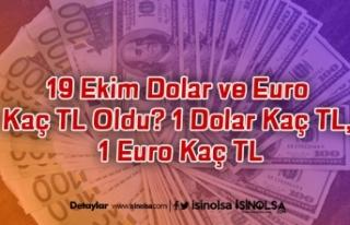19 Ekim Dolar ve Euro Kaç TL Oldu? 1 Dolar Kaç TL,...
