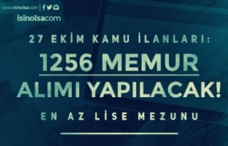 27 Ekim Resmi Gazete İlanları: 1256 Memur Alımı...