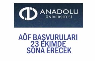 Açıköğretim Fakültesi AÖF Başvuruları 23 Ekim'de...