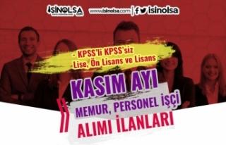 Kamuya KPSS'li KPSS'siz 2020 Kasım Ayı...