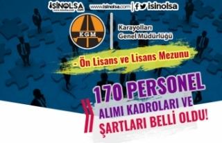 Karayolları 170 Kamu Personeli Alımı Kadrolar,...