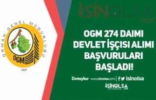OGM 274 Daimi Devlet İşçisi Alımı Başvuruları...