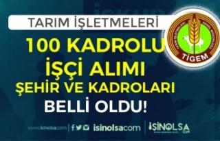 TİGEM Kadrolu 100 İşçi Alımı Kadro Dağılımı...