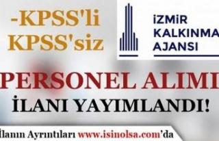 İzmir Kalkınma Ajansı KPSS'li KPSS Siz Personel...