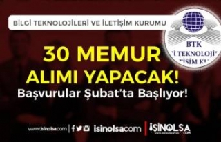 BTK 5 Farklı Alanda 30 Memur Alımı ( Uzman Yardımcısı...