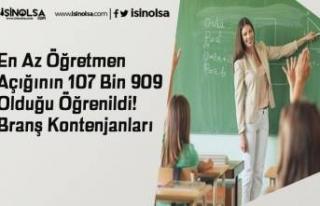 En Az Öğretmen Açığının 107 Bin 909 Olduğu...