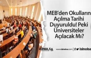 MEB'den Okulların Açılma Tarihi Duyuruldu!...