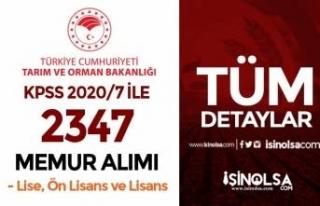 Tarım Bakanlığı KPSS 2020/7 İle 2347 Memur Alımı!...