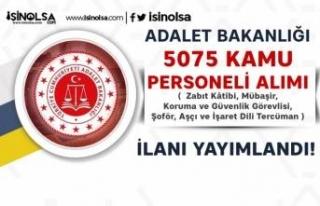 Adalet Bakanlığı 5075 Katip, Mübaşir ve Personel...