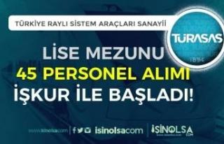 İŞKUR Aracılığı İle TÜRASAŞ Lise Mezunu 45...