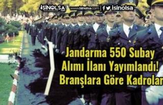 Jandarma 550 Subay Alımı İlanı Yayımlandı! Branşlara...