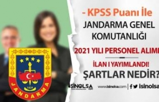Jandarma Genel Komutanlığı KPSS Puanı İle Personel...
