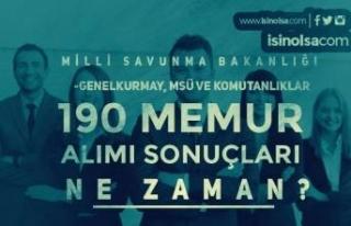 MSB, Genelkurmay, MSÜ, Komutanlıklar 190 Memur Alımı...