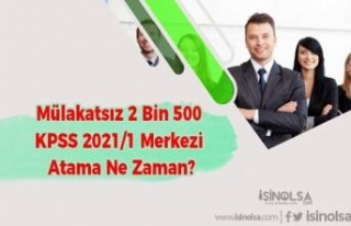 Mülakatsız 2 Bin 500 KPSS 2021/1 Merkezi Atama Ne...