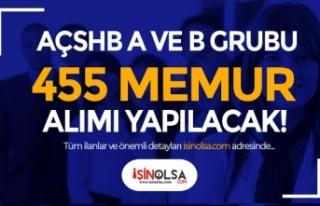 AÇSHB KPSS İle A ve B Grubu 455 Memur Alımı İlanları...
