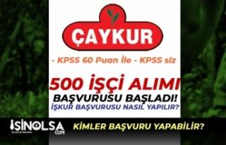 ÇAYKUR 500 İşçi Alımı Başladı! KPSS 60 Puan...